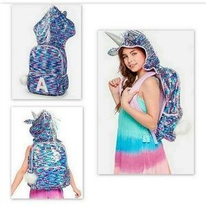NEW JUSTICE Unicorn sequin initial hooded backpack